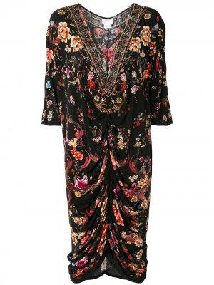 Платье из джерси с драпировкой Camilla. Цвет: черный