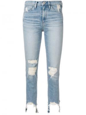 Рваные укороченные джинсы с необработанным низом 3x1. Цвет: синий