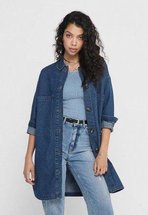 Рубашка джинсовая Jacqueline de Yong. Цвет: синий