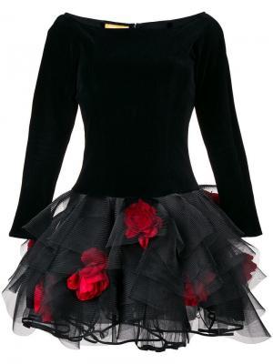 Коктейльное платье с цветочной отделкой в стиле 1990-х Christian Lacroix Vintage. Цвет: черный