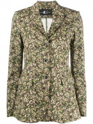Однобортный пиджак с цветочным принтом Luisa Cerano. Цвет: зеленый