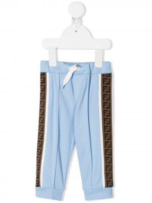Спортивные брюки с логотипом FF Fendi Kids. Цвет: синий
