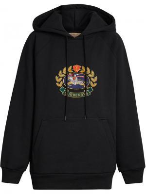 Logo print hoodie Burberry. Цвет: черный