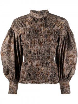 Блузка с пышными рукавами и сборками GANNI. Цвет: коричневый