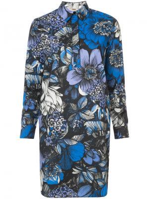 Платье-рубашка с цветочным принтом Fuzzi. Цвет: синий