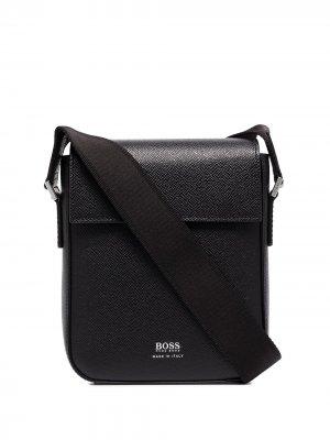 Сумка на плечо с логотипом BOSS. Цвет: черный