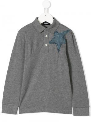 Рубашка-поло с джинсовой заплаткой в форме звезды Diesel Kids. Цвет: серый