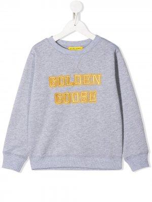 Джемпер с вышитым логотипом Golden Goose Kids. Цвет: серый