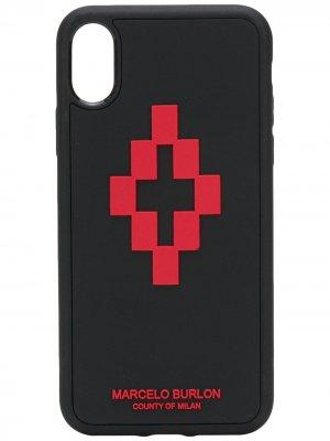 Чехол для iPhone XS с логотипом Marcelo Burlon County of Milan. Цвет: черный