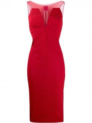 Платье с сетчатыми вставками Rick Owens. Цвет: красный