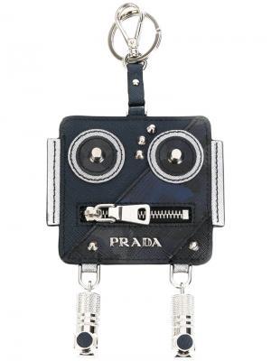 Брелок в виде робота Prada. Цвет: синий