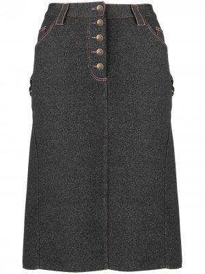 Джинсовая юбка 2000-х годов прямого кроя pre-owned Christian Dior. Цвет: серый