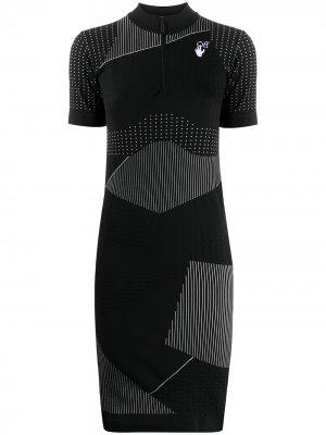 Платье с короткими рукавами и полосками Off-White. Цвет: черный