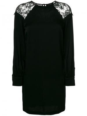 Платье шифт с кружевными вставками Ki6. Цвет: черный