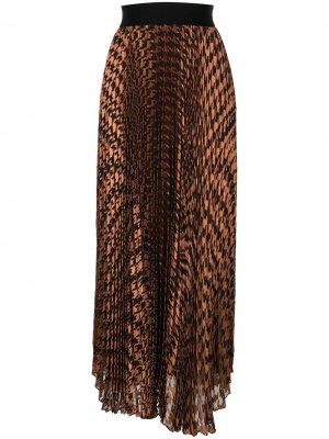 Плиссированная юбка Harvest в ломаную клетку Alice+Olivia. Цвет: коричневый