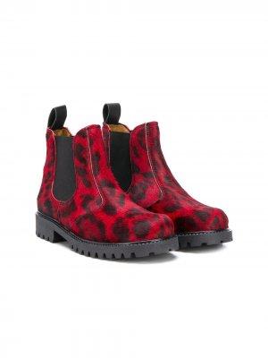 Ботинки с леопардовым принтом Gallucci Kids. Цвет: красный