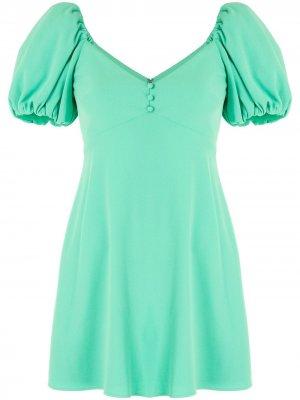 Платье мини с пышными рукавами Alice+Olivia. Цвет: зеленый