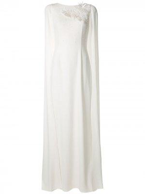 Вечернее платье с цветочной вышивкой Paule Ka. Цвет: белый