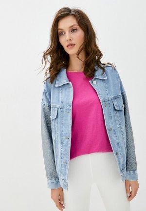 Куртка джинсовая TrendyAngel. Цвет: голубой