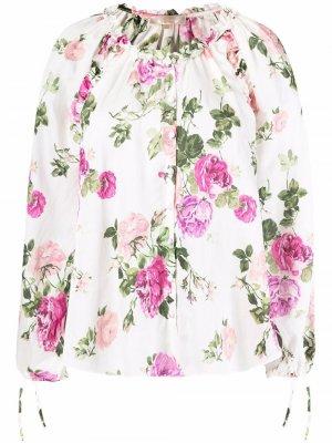 Блузка с цветочным принтом и завязками LoveShackFancy. Цвет: белый
