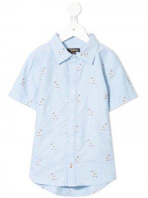 Рубашка Oscar с вышивкой Velveteen. Цвет: синий