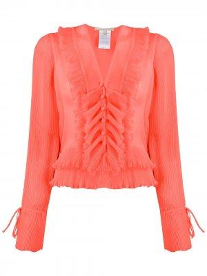 Рубашка с прозрачной плиссированной вставкой Marco De Vincenzo. Цвет: оранжевый