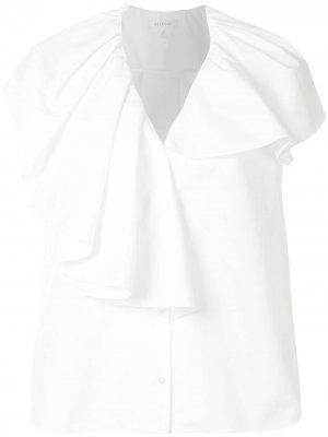 Блузка асимметричного кроя с оборками Delpozo. Цвет: белый