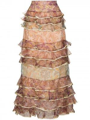 Ярусная юбка миди Lucky Zimmermann. Цвет: желтый