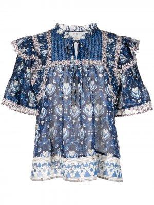Блузка Brigitte с принтом Sea. Цвет: синий