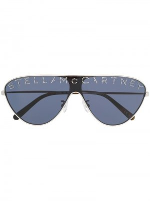 Солнцезащитные очки с логотипом Stella McCartney Eyewear. Цвет: серебристый