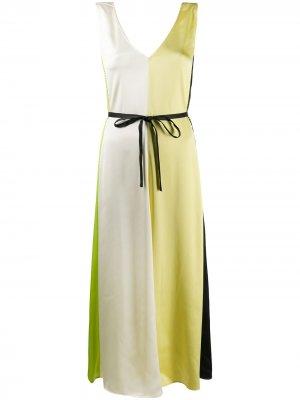 Платье миди в стиле колор-блок Stine Goya. Цвет: желтый