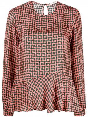 Клетчатая блузка с баской Odeeh. Цвет: оранжевый