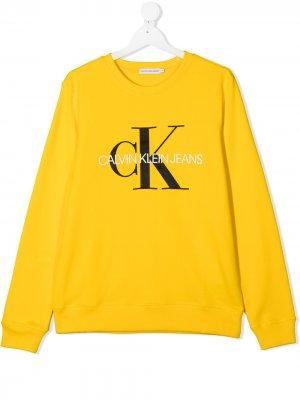 Свитер с логотипом Calvin Klein Kids. Цвет: желтый