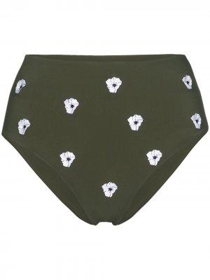 Плавки бикини с завышенной талией и цветочным принтом Anemos. Цвет: зеленый