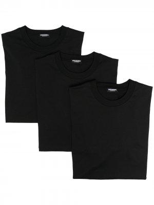 Комплект из трех футболок с круглым вырезом Dsquared2. Цвет: черный