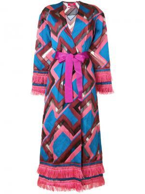 Пальто халатного кроя с геометрическим рисунком F.R.S For Restless Sleepers. Цвет: розовый