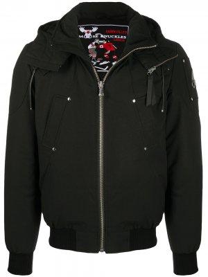 Пальто на молнии с капюшоном Moose Knuckles. Цвет: черный
