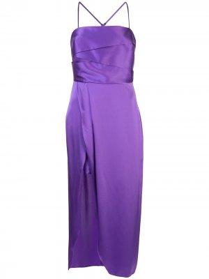 Платье асимметричного кроя на бретелях Michelle Mason. Цвет: фиолетовый