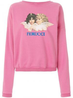 Толстовка с принтом логотипа Fiorucci. Цвет: розовый