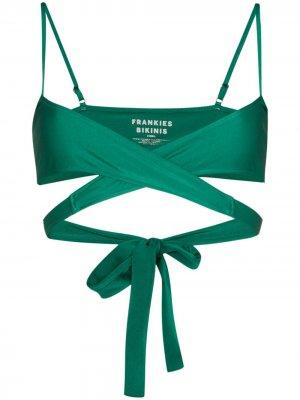 Лиф бикини Falcon Shine с перекрестными ремешками Frankies Bikinis. Цвет: зеленый