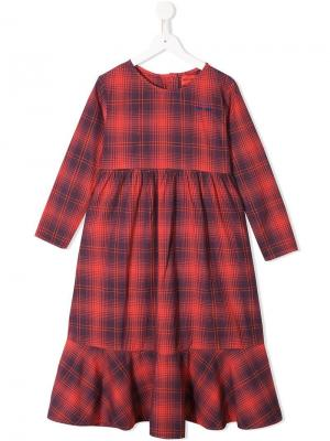 Plaid flared dress Bobo Choses. Цвет: красный