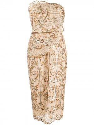 Платье с пайетками без бретелей Zuhair Murad. Цвет: золотистый
