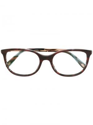Квадратные очки в полоску Tiffany & Co Eyewear. Цвет: коричневый