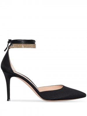 Атласные туфли с цепочкой Gianvito Rossi. Цвет: черный