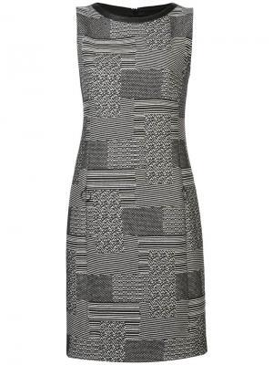 Короткое платье шифт с принтом Akris Punto. Цвет: черный