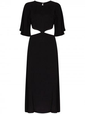 Платье миди Benny с вырезами Reformation. Цвет: черный