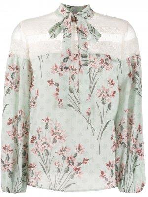 Блузка с цветочным узором RED Valentino. Цвет: зеленый