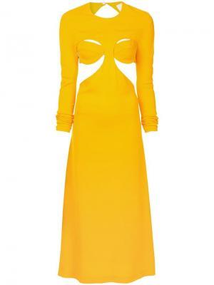 Платье с бюстгальтером и открытой спиной Dion Lee. Цвет: желтый
