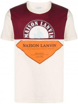 Футболка с логотипом LANVIN. Цвет: нейтральные цвета