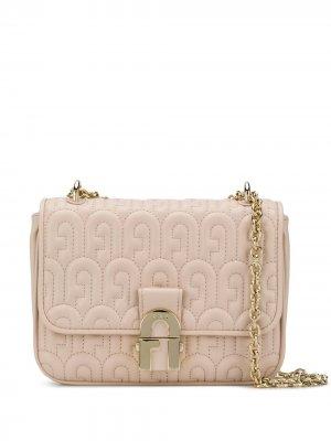 Стеганая сумка на плечо с логотипом Furla. Цвет: розовый